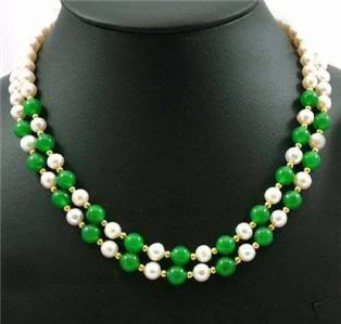 Wonderful 2Strds White Akoya Pearl&Chalcedony Necklace