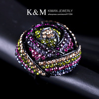 K&amp;M---Fashionable dazzling luxurious Elastic ring RI-02010 Multicolour FREE SHIPPING