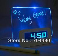Best gift Watch clock with fluorescent wordpad Usb Music Digital clock Alarm Fashion Beautiful Free shipping