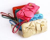 Free/drop shipping 2013 bow decoration Women women's single zipper wallet clutch ,women's bag,wallet,cluth bag,handbag