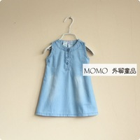 Free shipping Brief ! momo girls clothing 13 denim sleeveless tank dress one-piece dress