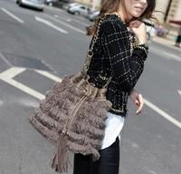 free shipping Goatswool - chain bucket one shoulder cross-body women's handbag bag - 10133