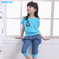 Free shipping Female child set summer girls clothing 2013 child spring children's clothing sports summer