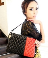 free shipping  color block brief bubble plaid shoulder bag cross-body women's handbag m06-090