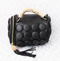 free shipping 2013 tassel metal handle black big PU button portable bag messenger bag drum bucket handbag