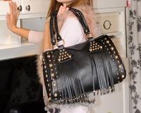 Free shipping  2013 big rivet decoration tassel handbag one shoulder cross-body bags female punk women's handbag