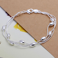 H236 Wholesale! 925 sterling silver bracelet 925 sterling silver fashion jewelry charm bracelet Three Line Gloss Ball Bracelet