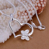 P090 fashion jewelry chains necklace 925 sterling silver pendant Butterfly hanging heart pendant