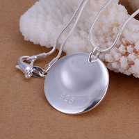 P067 fashion jewelry chains necklace 925 sterling silver pendant Round cattle Pendant