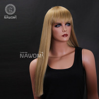 Gold wig straight hair bangs long straight hair wig female rebecca fashion w3361