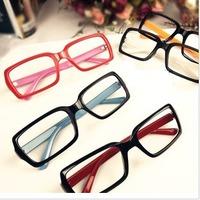 Vintage big black glasses box leopard print myopia plain glass lens frame non-mainstream mirror