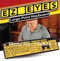 1PC Free shipping Large Print EZ EYES Keyboard Waterproof  USB Old Man Keyboad , As Seen On TV ,retail packaging