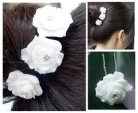 Free shipping 12pcs  bride wedding hair accessories  resin white rose flower hair clip