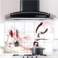 (Minimum order $5) Mangnolia Pattern 75*45cm Oil Proof Sticker Kitchen Wall  Aluminum Foil Paper Decal HY28275