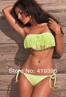 2013 Vintage Fringe Push Up Bikini Strapless Padded Ladies New Band Fashion Biquini Swimwear Free Shipping CL1029