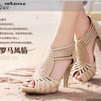 2013 spring genuine leather rhinestone sandals female high-heeled platform shoes cutout open toe shoe