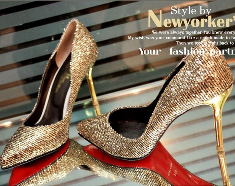 женские купить золотые туфли на каблуке даже