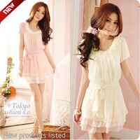 2013 summer women's elegant pearl flower lace chiffon belt dress one-piece dress
