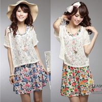 2013 sweet princess dress spring and summer women's sleeveless one-piece dress lace cutout twinset one-piece dress