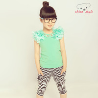 Bear children's clothing 2013 summer female child set child sports short-sleeve sportswear 1197 twinset