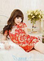 Babydoll Sexy Lingerie strip dress+g string set Sleepwear,Underwear ,Uniform ,Kimono Costume-red 1059-1pcs
