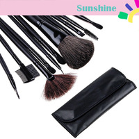 New Arrival! 12 PCS Makeup Brush Set with Black Leather Case Make Up Brushes Free Shipping 3070