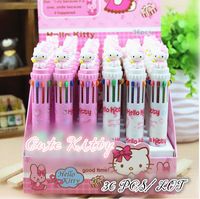 Hello Kitty ball pen,Cartoon Ball point pen,Lovely Hello Kitty 10 color pen,Hot Stationery 24Pcs/Lot FreeShipping