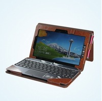 "Brown Triple PU Leather Case With Keyboard Station Shell Cover Pouch for 10.1"" ASUS VivoTab TF600T Win8 Tablet+free shipping"