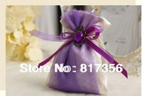 100pcs/lot Purple Candy box, Satin candy bag, gift box,wedding favors,wedding gift,With All decoration delivered