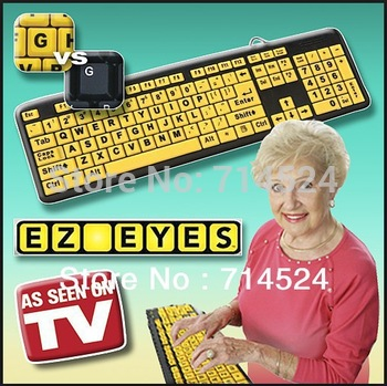 Large Letter EZ EYES Keyboard Waterproof  USB Wired Old Man Keyboad , As Seen On TV ,retail packaging