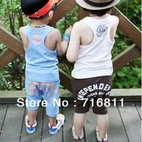 free shipping, 5 pcs/lot, Baby Clothes Sets, 832 Digital Vest T-Shirt+ Baby Pants, 109#