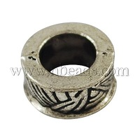 Alloy European Beads,  Large Hole Beads,  Cadmium Free & Nickel Free & Lead Free,  Antique Silver,  8x4mm,  Hole: 4mm