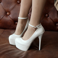2013 New Hot sale Women Bow Fish Mouth Leather Platform Fashion Sexy Show 13.5cm High Heel Dress Shoes 8-13NMNS
