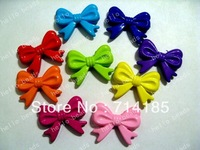 60pcs Mixed solid color Large Bow Knot Beads Chunky Bow Beads 46x36mm for chunky necklace
