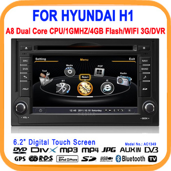 Car DVD Player For HYUNDAI H1 with GPS TV BT FM A8 Chipset Dual Chipset/4G built-in memory,3G modem/wifi/DVR Option(AC1349)