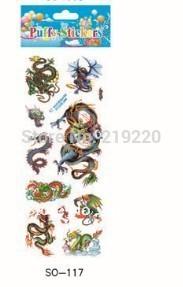 Free shipping 100pcs/lots Classics style Chinese dragon Foam Wall Stickers Decoration Puffy Sticker