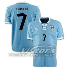 New arrive! Top thailand quality uruguay 13-14 Home Jersey soccer shirt free shipping CAVANI 7 S,M,L,XL(China (Mainland))