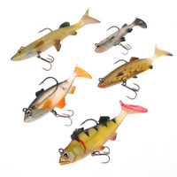 Free shipping fishing soft lure with treble hooks 5pcs/set sea water and fresh water fish tackles Wholesale and Retail