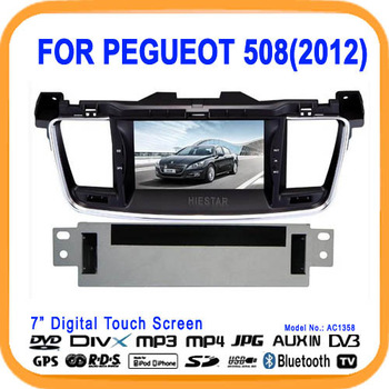 2013 New Arrival! Car Radio DVD With GPS For Pegueot 508(2012) Bluetooth Radio FM+Free 4GM Map+Free Gifts (AC1358)