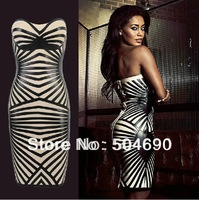 Free shipping 2013 Newest Celebrity 'Aysha' Champagne Strapless Black Belt Decoration HL Bodycon Bandage Dress
