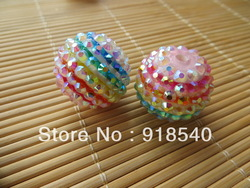 Rainbow Strips 100pcs 22MM Mixed Color Acrylic Strips Resin Ball Rhinestone Beads for NChunky ecklace Jewelry(China (Mainland))