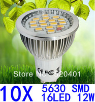 10X Dropshiping 12W GU10/E27/E14/GU5.3 SMD 5630 16 LED Spotlight Bulb Light lamp 85-265V white/Warm White Free shipping