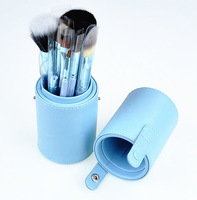 12pcs Colorful Pro Cosmetic Make up Brush Set Kits + PU Bucket Holder