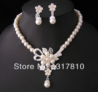Silver Plated Cream Glass Pearl and Rhinestone Crystal Bridal Necklace and earrings Jewlery Sets