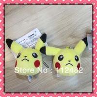 Free shipping Pokemon pikachu head 100pcs/lot plush toy pendant