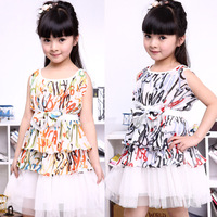 2013 female child spring short-sleeve summer one-piece dress princess dress skirt female kid's child spring one-piece dress