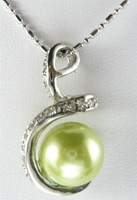 Fashion Jewelry  Green Sea Shell Pearl Annulus Shape Pendant With 18'' Necklace 18K Yellow Gold GP