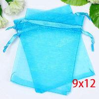 100 Aqua Blue Bronzing Drawable Organza Wedding Gift Bags&Pouches 12x9cm