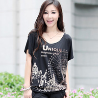 Free shipping!Plus size clothing summer women's new arrival 2013 casual loose t-shirt