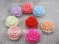 flat back resin flower  for phone & hair decoration 40pcs/lot(each color5pcs)
